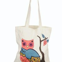 Jeweled Owl Canvas Tote
