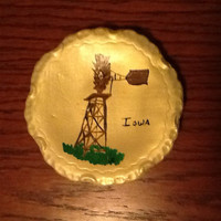 Vintage hand painted ceramic decorative plate. Nice picture of a windmill in Iowa. Gift from Eastern Star Member?