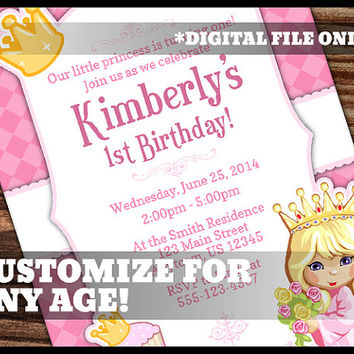 Princess Theme 1st Birthday Invitation Pink Girl Girly Crown Party Digital Printable Customized Personalized