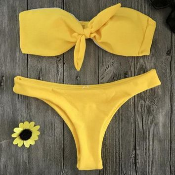LMFONX5H Sexy Pure Color Chest Bow-Tie Strapless Two Piece Bikini Swimwear Yellow