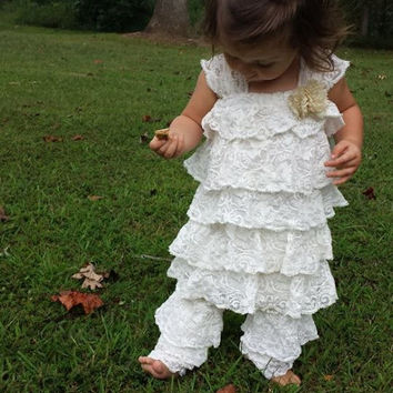Vintage Inspired Ruffled Lace Dress & Bloomers~Beautiful for Special Photos of Baby Girl or Siblings~Embelished w/Ribbon Rose~Lace~Buttons