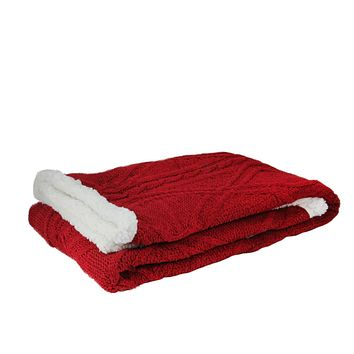 "Red Cable Knit Plush Sherpa Throw Blanket 50"" x 60"""