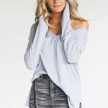True Meaning Light Blue V-Neck Sweater Pullover
