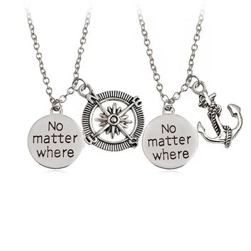 """2pcs / set  Trendy Punk Style Anchor Compass Letter """"No matter where"""" Necklace Couple Unisex Choker For Women Man Gift Jewelry"""