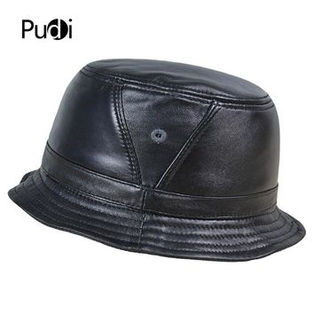 Pudi HL195 men real sheep leather Bucket Hats Caps women fishing Flap hat beanies tracker hunting caps