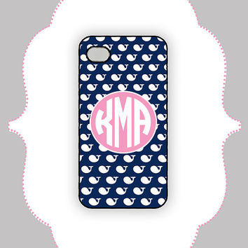 iPhone Case- Blue Whale Monogram- iPhone 4/4s, iPhone 5 Case, Monogram Case, Personalized iPhone Case