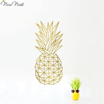 Geometric Pineapple Wall Decal Sticker Home Decor - Pineapple Vinyl Art Mural Geometric Fruit Kitchen Decals - Size 28 x 58 cm