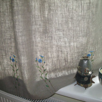 Organic Linen Curtain With Handembroidered Linen Flowers