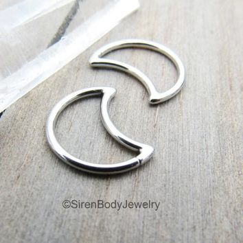 Moon daith earring 16g silver stainless cartilage piercing earring earrings bar seam ring