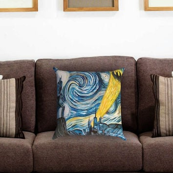 Batman invades Van Gogh's Pillow Cover , Custom Zippered Pillow Case One Side Two Sides