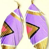 Multi Linear & Drop - Neon Aztec - Lilac Purple | UsTrendy