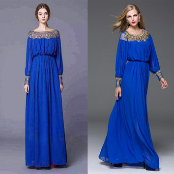 S-XXL High Quality 2017 Summer New Fashion Complex Hand Beading Loose Simple Gorgeous Long Dress Party Three Colors