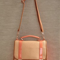 love story satchel purse in peach