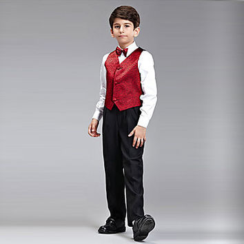 Five Pieces Burgundy Ring Bearer Suit Clothing Set