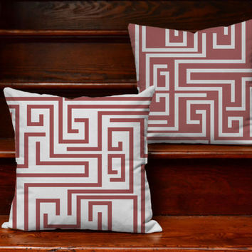 Modern Throw Pillows -  Pantone Marsala Maze Pillow Covers and or Cushion Inserts - Abstract Decor, Trending Decor, Contemporary Home Design
