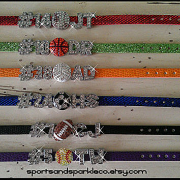 Personalized with Player's Number and Initials Name Bling Sports Team Rhinestone Charm Bracelet