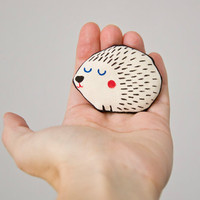 Hedgehog Brooch Handpainted  - Cute art brooch in cotton