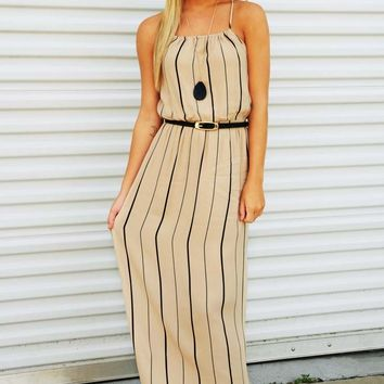 One Kiss From You Maxi Dress: Black/Tan