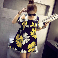New Women Summer Fashion Casual BOHO Sleeveless Floral Cocktail Party Mini Dress