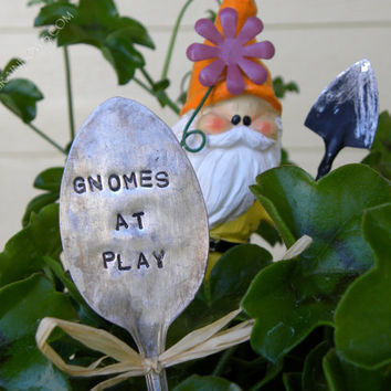 Garden pick silver plated spoon Gnomes At Play
