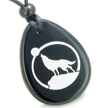 Amulet Courage and Protection Howling Wolf Moon Spiritual Black Agate Pendant Necklace