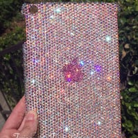 Swarovski Crystal Embellished iPad Case in Crystal Ab and Pink Available for All iPad Models - Bling iPad Mini, iPad Air Case