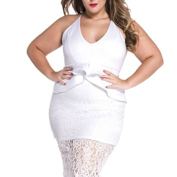 Plus White Crossover Straps Floral Lace Overlay Peplum Dress