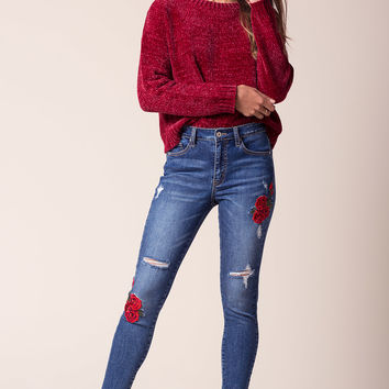 Fleur Embroidered Skinny Jeans