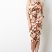 Floral Faux Suede Sleeveless Midi Dress