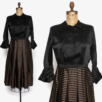 Vintage 40s Copper & Black Dress / 1940s Silk Satin and Metallic Stripes Dress with Dramatic Cuff Sleeves