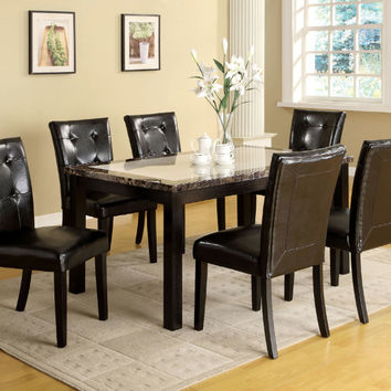 CM3188T-60-7PC 7 pc atlas i black finish wood faux marble top dining table set
