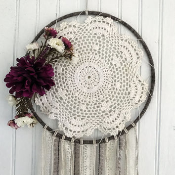 Dream catcher, Bohemian Dreamcatcher, Boho chic dreamcatchers, Baby gifts, purple flowers, modern dreamcatcher,  nursery decor, room decor