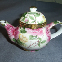 "Trinket Box Teapot Shaped with Pink Roses 5.25"" long x 3.5"" tall"