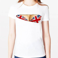 Red Fake Cut Out Flag Print Bra T-Shirt
