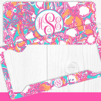 Aqua Hot Pink Orange Fish Monogram License Plate Frame Holder Metal Wall Sign Tags Personalized Custom Vanity