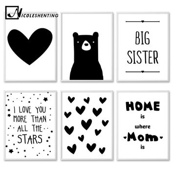 Kawaii Black White Bear Heart Cartoon Wall Art canvas Posters Nursery Print Nordic Style Painting Picture Children Room Decor