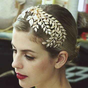 Bridal Headdress Golden Leaves Headpiece,Bridesmaid Headwear Wedding Headband Comb head Jewelry TL105