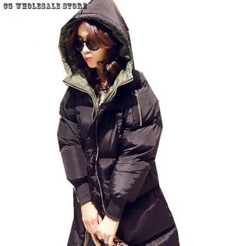 Winter Parka Women Hoodies Jacket Thick Warm Long Down Feather Parkas Filling Memory Foam  Abrigos Mujer Coat