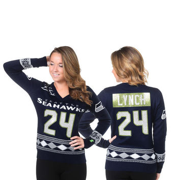 Women's Seattle Seahawks NFL Marshawn Lynch Klew College Navy Name and Number Ugly V-Neck Sweater
