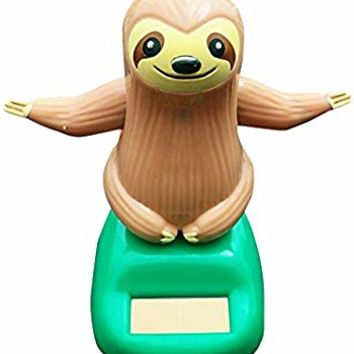 VOVI Car Ornaments for Solar Toy Powered Car Decoration Sheep Sloth Car Accessories Cartoon Head Shaking Doll Innovative Halloween Gift Car Ornament