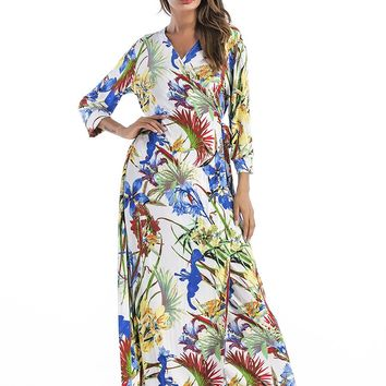 V Neck Flower Print Maxi Dress