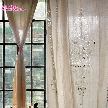 2pcs customize Tab Top Curtain French Country Cotton Linen Crochet Lace Panel Drape for Living Room Hotel Cafe DHL
