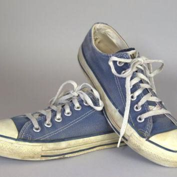 DCCKGQ8 80s converse made in usa blue chuck taylor low top converse allstars 7 womens 5 mens