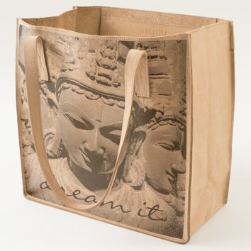 """Dream it"" stone faces close-up photo leather tote"