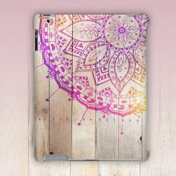 Wood Print Mandala iPad Case For - iPad 2, iPad 3, iPad 4 and iPad Mini, Fine Art Hard Case