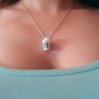 Starbucks frappuccino cup necklace - miniature Starbucks cup necklace