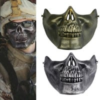 1pc Skull Skeleton Gift Horror Fans Stage Props Airsoft Paintball Half Face Protective Mask For Halloween -QE