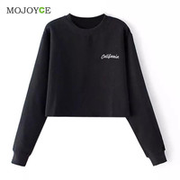 Casual Cotton Embroidered Letter Long Sleeve Sweatshirt Crop Top Black Grey Women Top Sweatshirt Women