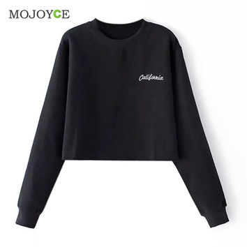 Casual Cotton Embroidered Letter Long Sleeve Sweatshirt Crop Top Black Grey Women Top Sweatshirt Women SN9