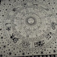 White ASTROLOGY Horoscope Zodiac Hippie Hippy Curtain Wall Hanging Indian Tapestry Throw Bedspread Bed Decor Sheet Ethnic Decorative Art